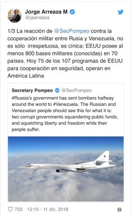 """Venezuelan Foreign Minister: It is """"unusual"""" the reaction of Mike Pompeo for the arrival of Russian planes"""