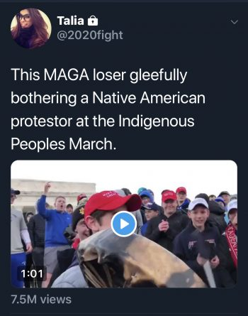 The Next Generation of MAGA Hat-Wearing Bigots Besiege Indigenous Peoples March