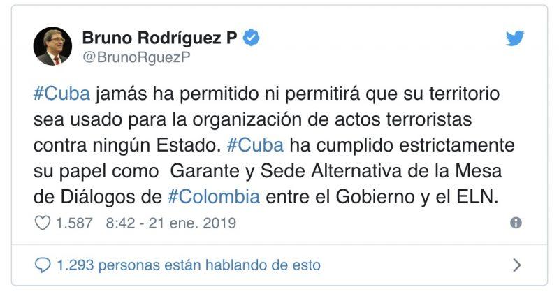 Cuba on ELN Attack: We Condemn Terrorism