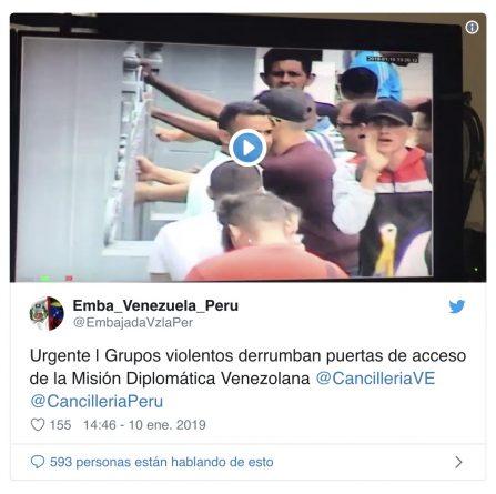 Venezuela Denounces Attacks Against its Embassy in Peru