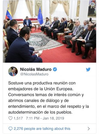 European Diplomats Reaffirm Their Support for Maduro's Second Term