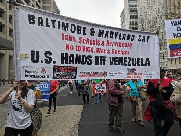 """Washington DC, protesters say, """"No to NATO! Hands off Venezuela!"""""""
