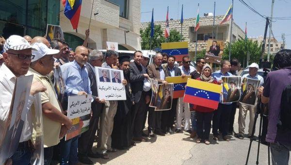 Palestinians Protest Against US Blockade on Venezuela