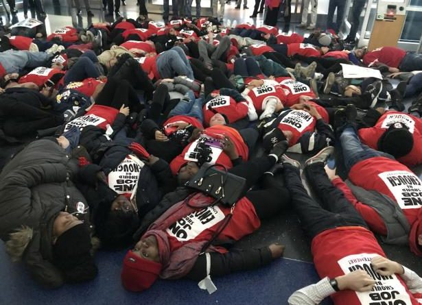 60 Arrested As Airline Food Workers Protest At JFK