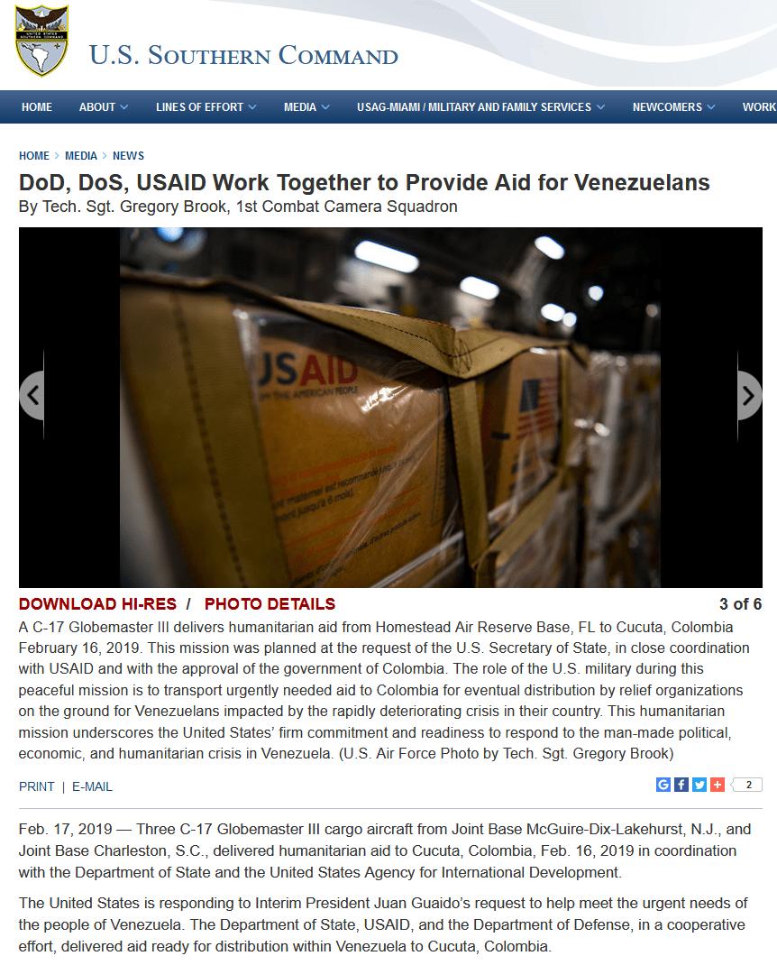 USAID-military-DOD-DOS-Southcom-Venezuela-aid-coup
