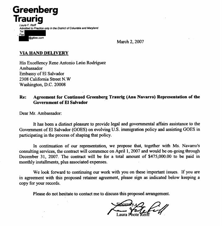 Greenberg-Traurig-Ana-Navarro-El-Salvador-lobbying-FARA
