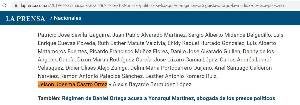 La-Prensa-presos-politicos-Nicaragua-Jeison-Castro-Ortez