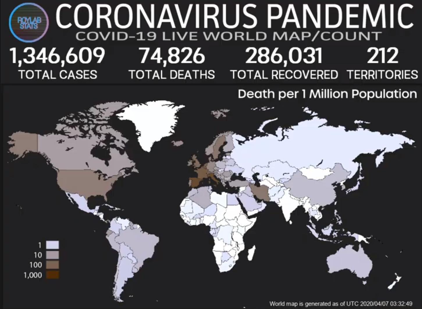 Deaths per million map