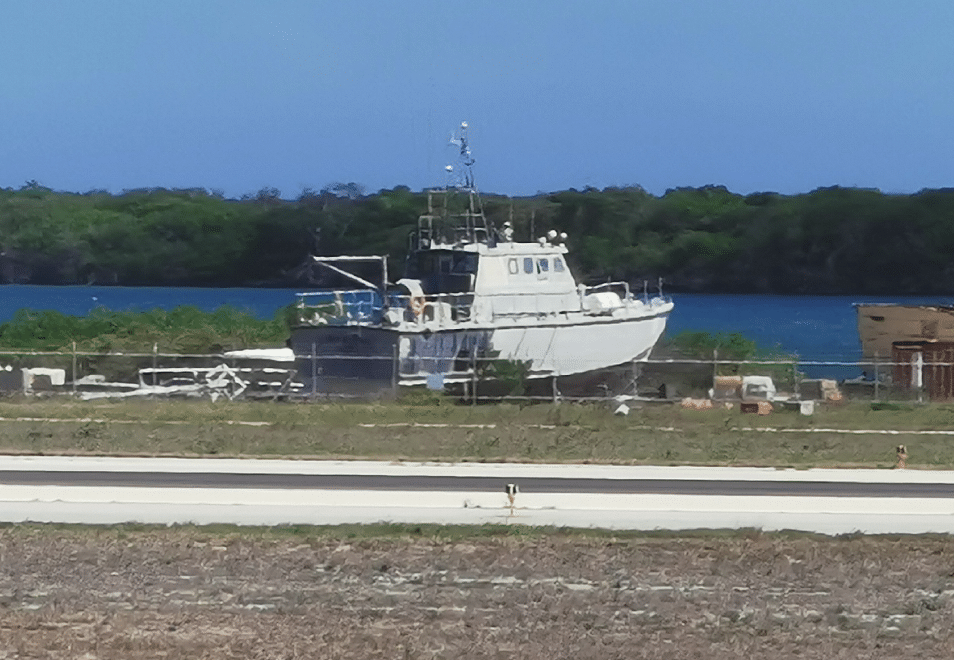 What looks like a navy boat