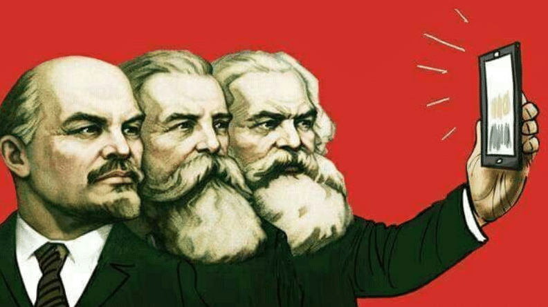 Marx, Engels and Lenin taking a selfie