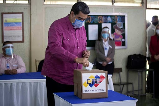 President Maduro voting in the 2020 Parliamentary Elections