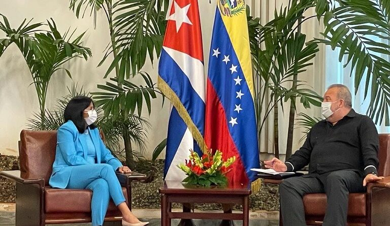 Featured image: Venezuelan Vice President, Delcy Rodriguez and Cuban Prime Minister, Manuel Marrero met in Havana on Jan 16 to deepen economic cooperation. Photo courtesy of Venezuelan VP Office.