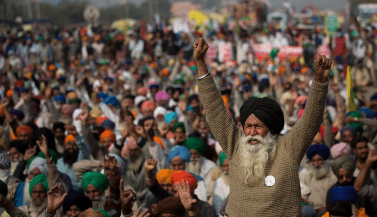 Demonstrators blocked a major highway at the Delhi-Haryana state border, 2020 [Altaf Qadri/AP Photo]