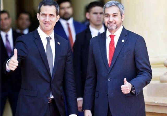 Featured image: Paraguayan President Mario Abdo and former Venezuelan deputy Guaido both pointed in a coruption scheme unveiled by the Washington Post. File photo.