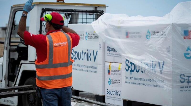 A first batch of the Russian Sputnik V vaccine , against COVID-19 , arrived this Saturday at the Maiquetía International Airport, which serves Caracas , on a plane from Moscow of the Venezuelan state airline Conviasa, as part of the contract established between Venezuela and Russia for ten million doses. Photo courtesy of: EFE