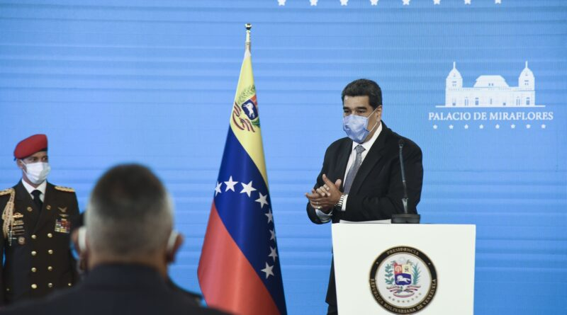 Nicolas Maduro wears a protective mask following a press conference at Miraflores Palace in Caracas on Feb. 17. Photographer: Carlos Becerra/Bloomberg
