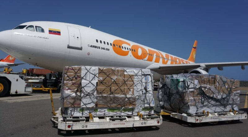 10th flight with Chines humanitarian aid arrives in Venezuela. Photo courtesy of MPPRE.
