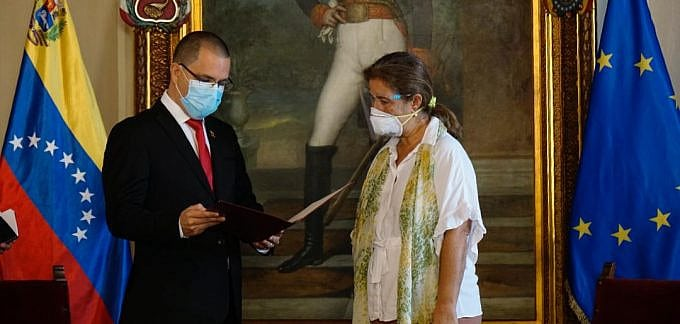 European Union ambassador to Caracas,Isabel Brilhante, expelled from Venezuela (persona non grata) after a new round of illegal EU sanctions. Photo courtesy of MPPRE.