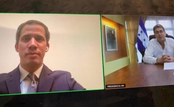 Featured image: Zoom meeting between formed deputy Guaido and Hondura's president accused of drug trafficking by the US. Photo courtesy of @ChuoTorrealba.