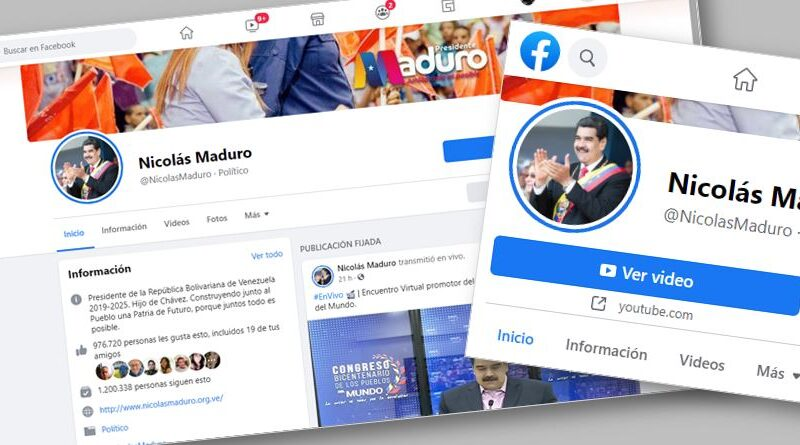 Venezuelan President Maduro's Facebook account banned for one month for mentioning the advance of Venezuelan science to fight COVID-19 (Carvativir). File photo.