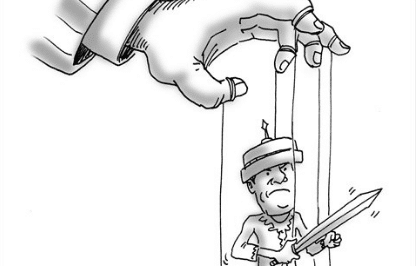 Featured image: Being a US puppet. Photo courtesy of Global Times.