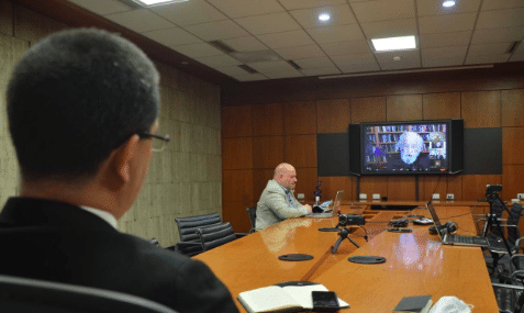 Featured image: Venezuelan chancellor, Jorge Arreaza in a webinar with Noam Chomsky on Monday, March 29. Photo courtesy of RedRadioVE.
