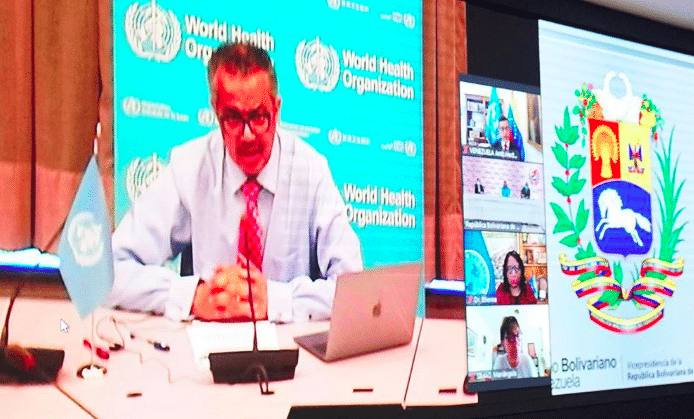 Venezuelan vice president, Delcy Rodriguez held a video conference with Tedros Adhanom to coordinate COVAX vaccines delivery. Photo courtesy of RedRadioVE.