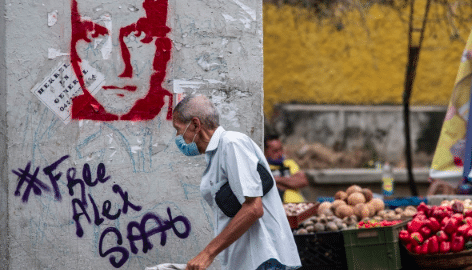 Urban signs like this demanding #FreeAlexSaab can be seen in the streets of Venezuela more often. File photo courtesy of RedRadioVE.