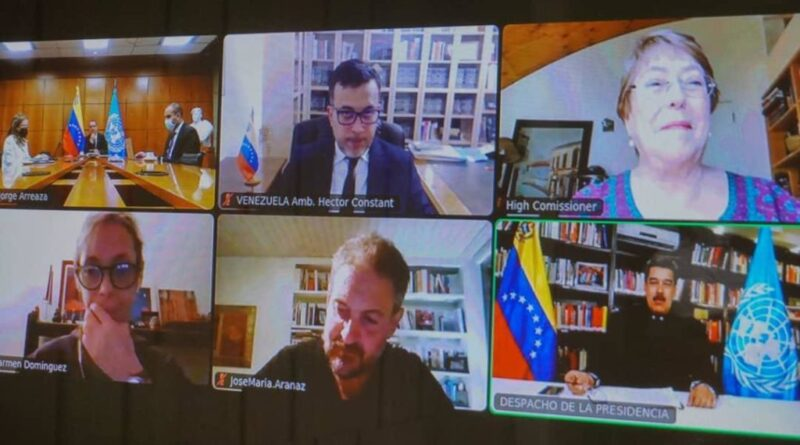 Featured image: Venezuelan President Nicolas Maduro held a video conference with UN High Commissioner on Human Rights, Michelle Bachelet. Photo courtesy of Prensa Presidencial.