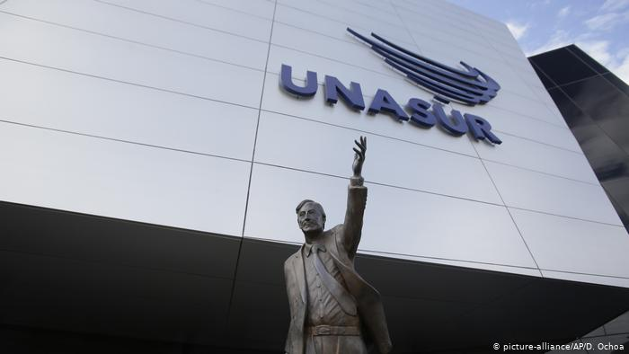 Featured image: UNASUR headquarters in Ecuador with the statue of Nestor Kirchner. File photo.