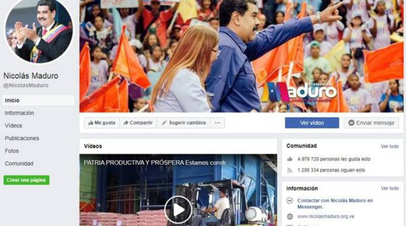 Featured image: Facebook censorship closed the account of Venezuelan President Nicolas Maduro. File image.