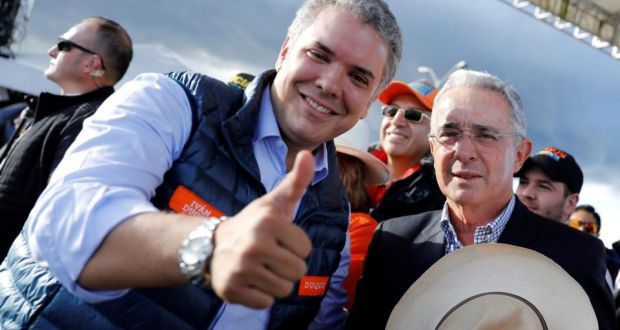 Featured image: Colombian president Ivan Duque with his political mentor Alvaro Uribe accused of  corruption and involvement with narco traffic. File photo.
