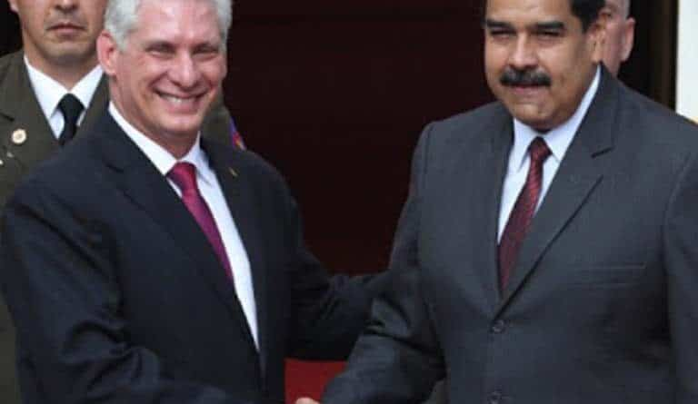 In the image, Miguel Díaz Canel, president of Cuba and the president of Venezuela, Nicolás Maduro, at the Miraflores Palace, Caracas. Photo: Presidential Press