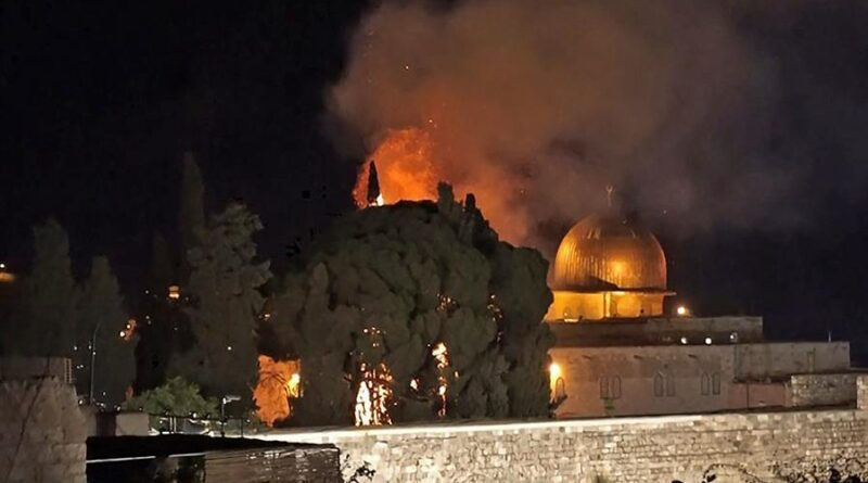 Featured image: The Al-Aqsa mesquite, a UN cultural heritage landmark, on fire after Israeli and settler attacks on Monday, May 10. Photo courtesy of Turkey News.