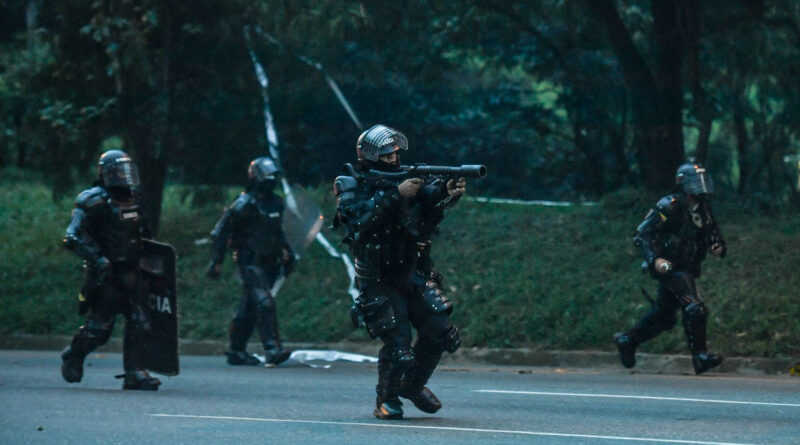 Riot police during anti-government protests in Medellín, Colombia, May 16, 2021 Joaquin Sarmiento / AFP