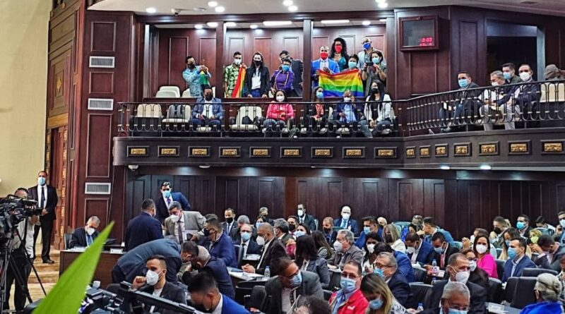 Featured image: The LGBTQ flag raised on Venezuelan National Assembly. Photo courtesy of @VE_Igualitaria .