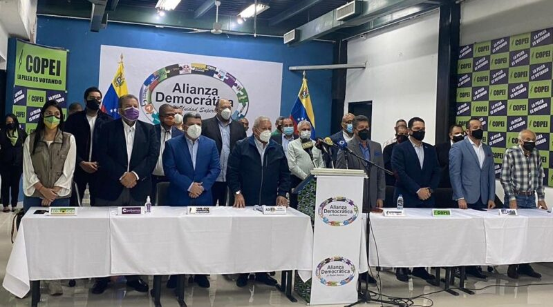 Featured image: opposition parties that took the election road in last parliamentary elections in Venezuela are uniting to make a block proposal to PSUV amid upcoming regional elections. Photo courtesy of @HenriFalconLara