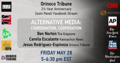 May 28: Panel on Alternative Media – Coordination, Cooperation & Socialism (Orinoco Tribune 2 ½-Year-Anniversary)