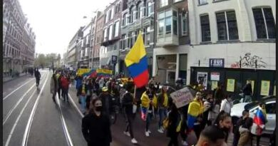 Featured image: Strong solidarity with Colombia in the Netherlands, with those fighting for democracy and against human rights violations from the Ivan Duque/Alvaro Uribe government. Photo courtesy of Hands Off Venezuela - Netherlands.