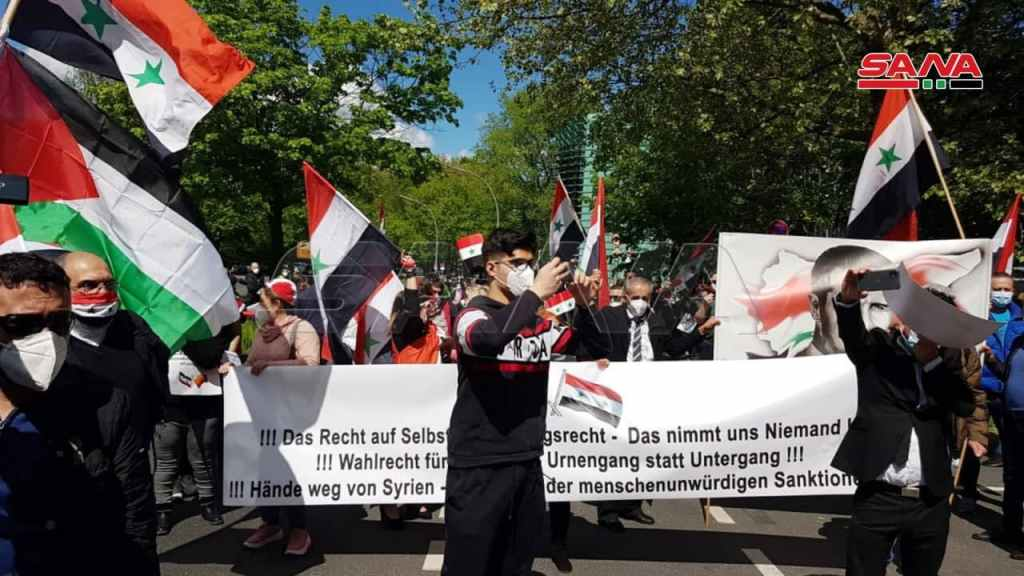 Syrians in Germany protesting against disenfranchisement. Photo by SANA.
