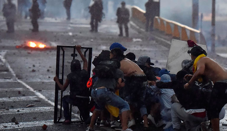 Protesters in Colombia. Photo courtesy of EFE.
