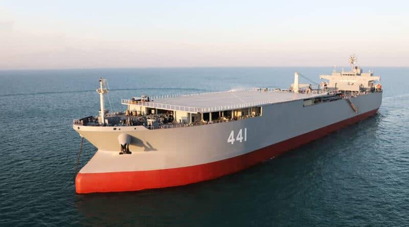 This photo shows Iran-made warship Makran. | Iranian Army via AP