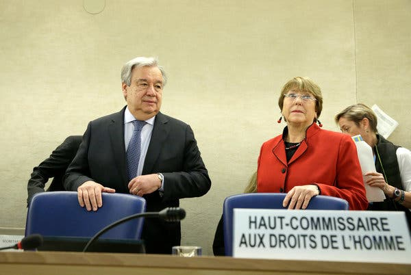 Featured image: UN Secretary General, Antonio Guterres and UN High Commissioner for Human Rights, Michelle Bachelet. File photo.