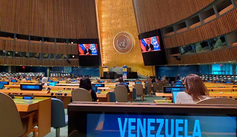 Featured image: Venezuelan Minister for Culture, Ernesto Villegas, speaking in the United Nations. Friday, May 21, 2021. Photo courtesy of Ultimas Noticias.