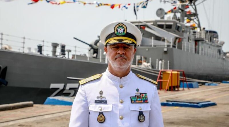 Iranian Army Naval Force Commander Rear Admiral Hosein Janzadi and high-tech destroyer Dena, June 14, 2021.