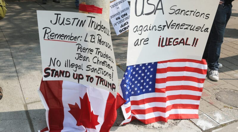 Protest against American attempts at a 'regime change' in Venezuela and Canada's complicity in the campaign, Toronto, 16 September, 2017. © Global Look Press / ZUMA Press / Creative Touch Imaging Ltd