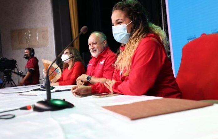 Deputy Diosdado Cabello with PSUV leadership. Photo courtesy of RedRadioVE.