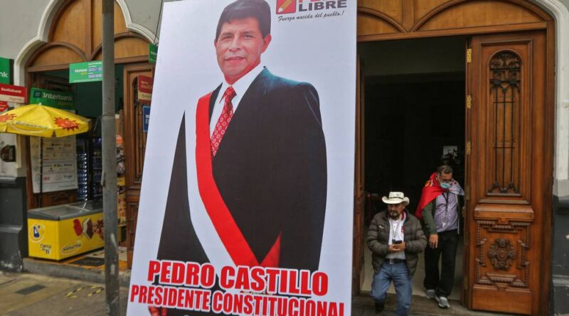Banner of Pedro Castillo wearing as for inauguration. Peruvian elite has maneuver to delay his formal proclamation in something that many call a Coup D'Etat in the making. Photo courtesy of AFP.