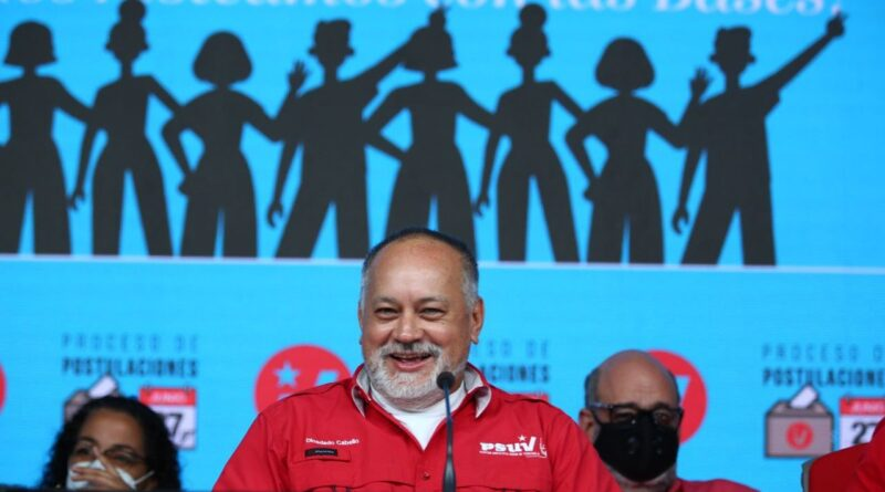 PSUV Vice President Diosdado Cabello during a press conference advancing some results on the first phase of party primaries. Photo courtesy of VTV.