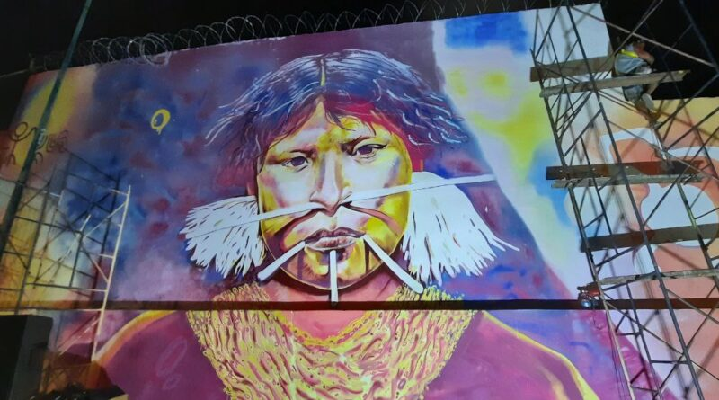 Chavismo put in its right historical place the role of indigenous Venezuelan in the Independence War. Mural being finished in Caracas of an indigenous woman. Photo courtesy of@gestionperfecta .